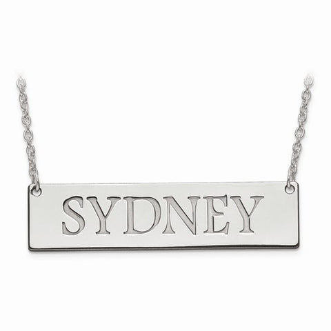 Silver Name Bar Necklace