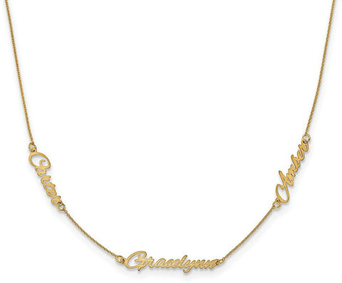 Mommy Name Necklace Gold 3 Names