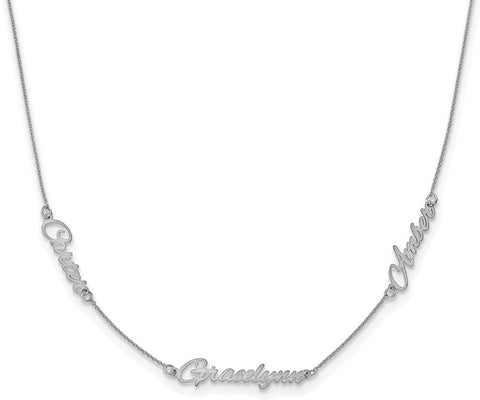 Mommy Name Necklace Silver 3 Names