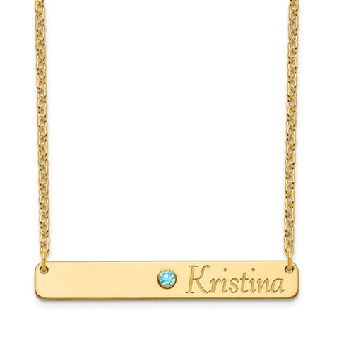 Birthstone & Name Bar Necklace Gold