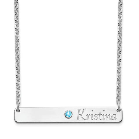 Birthstone & Name Bar Necklace