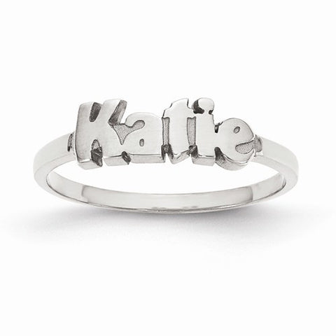 Sterling Silver Laser Polished Name Ring