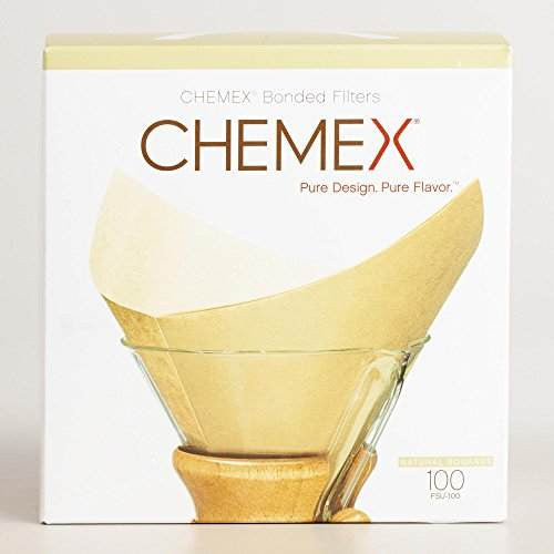 Chemex FSU-100 Pre Folded Unbleached Square Coffee Filter (100 Filters)