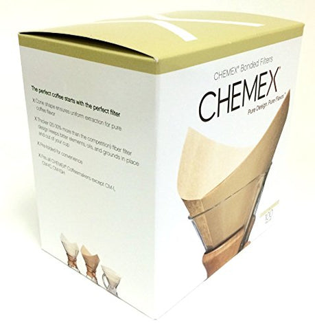 Chemex Bonded Unbleached Pre-folded Square Coffee Filters, 100 Count …