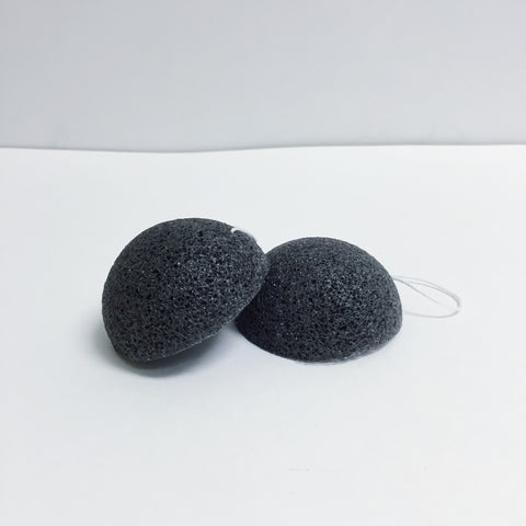 Vimala Beauty Activated Bamboo Charcoal Konjac Deep Cleansing Facial Sponge, Pack of 2 - Large Size
