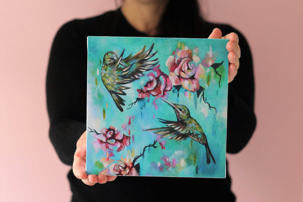 Hummingbirds - 8x8 inch Canvas Print - Sian Storey Art