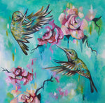 Hummingbirds - 8x8 inch mounted print - Sian Storey Art