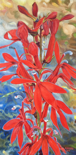 Cardinalflower in Shade (oil on canvas 10 x 20 in. framed)