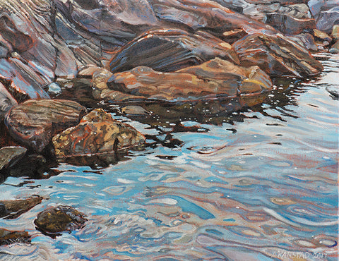 Dumoine Interface, Rocks and Water  (print on canvas, 36 x 24 in.)