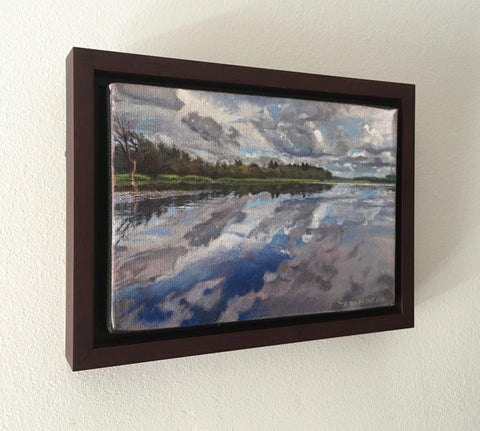 Salmon River Cloudscape (oil on canvas 5 x 7 in. framed)
