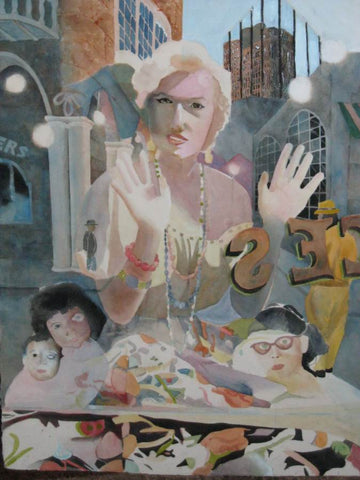 Marilyn Monroe at the Window - Beginning of the Final Surrealism Painting by Samuel Worley