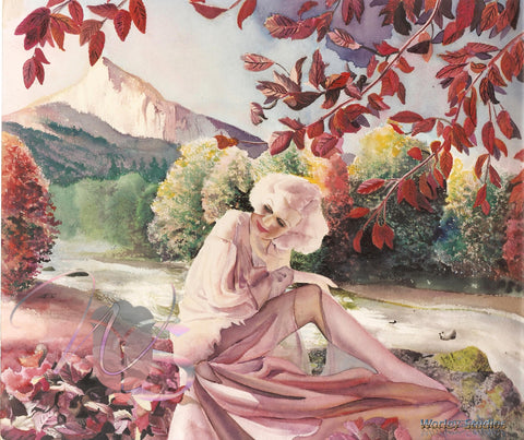 Autumn - Original Watercolor of Jean Harlow by Worley (SOLD)