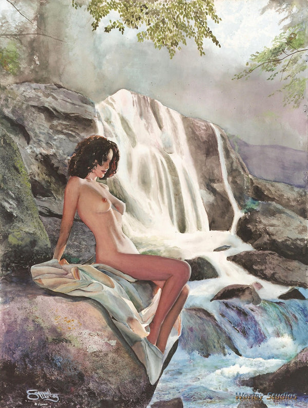 By the Falls - Original Watercolor