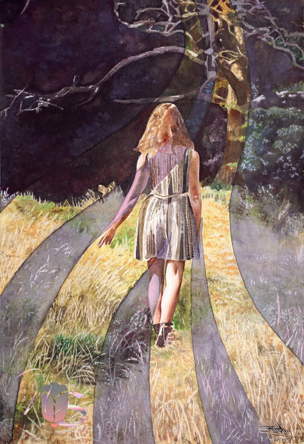 Purple Limited Edition Giclee Art Print of Woman Walking into the Woods