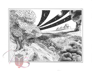 Night & Day - Original Black & White Pen & Ink Drawing