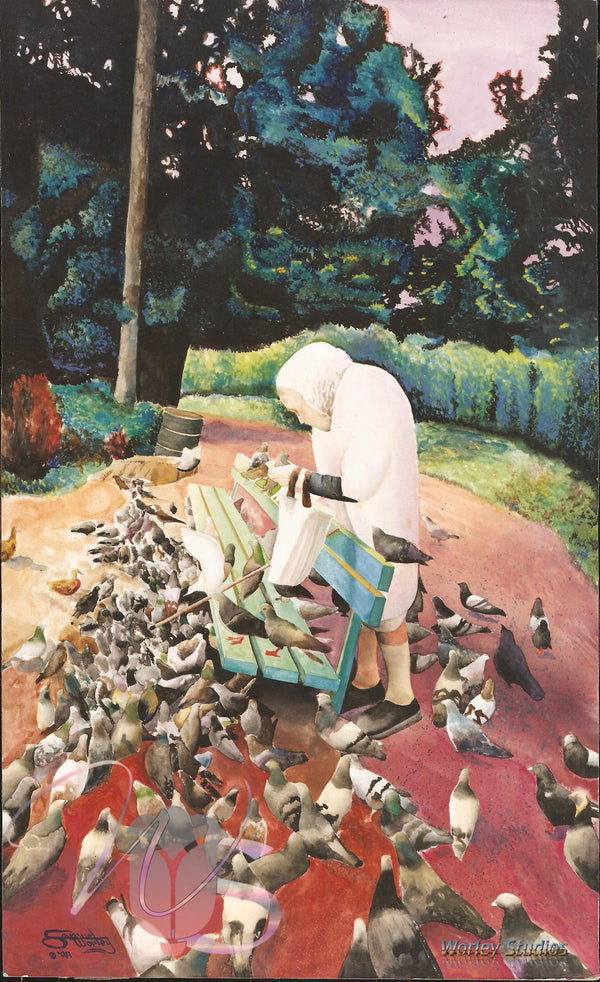 Nostalgic Bird Lady of Golden Gate Park Original Watercolor (SOLD)