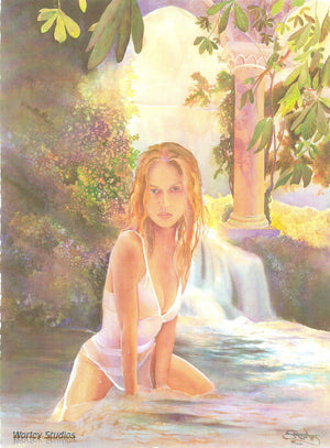 "Heidi Klum - ""The Enchantress"" Original Watercolor"