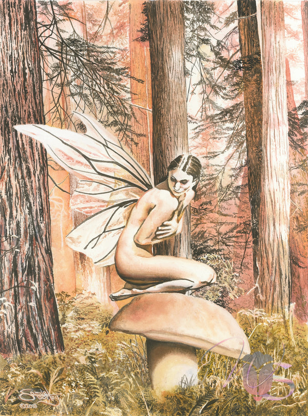 The Modest Fairy - Original Watercolor (Not for Sale)