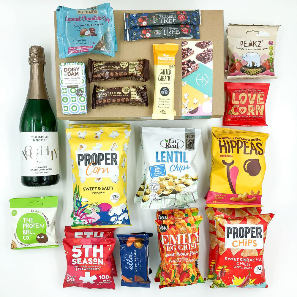 Buy vegan snack boxes with Thomson & Scott's sparkling alcohol-free wine