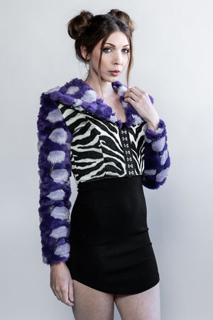 "Forgotten Saints LA ""Stardust"" Faux Fur Zebra Crop Jacket"
