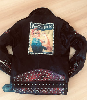 "Forgotten Saints LA ""Rosie the Riveter""  One of a kind leather jacket"