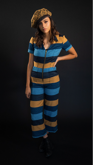 "Forgotten Saints LA ""The Beat"" Striped Patchwork Coveralls"