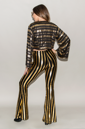 "FSLA ""Innuendo"" Black and Gold Metallic Stripped Cropped Kimono"