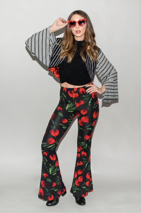 "FSLA ""Rose Trippin"" High Waisted Flared Bellbottoms"