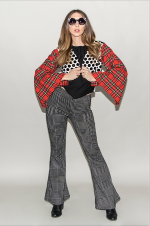 "FSLA ""Mod Revival"" High Waisted Plaid Houndstooth Flared Bellbottoms"