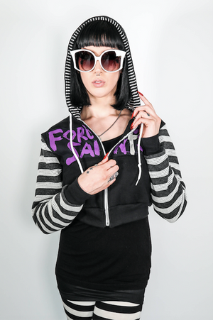 "FSLA Cropped ""Jerks"" Striped Hoody"