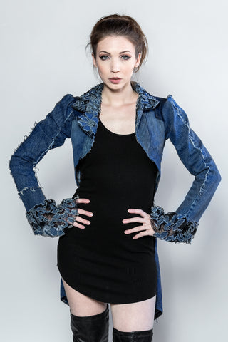 "Forgotten Saints LA ""Talk of the Town"" Distressed Denim Tuxedo Tails Jacket"