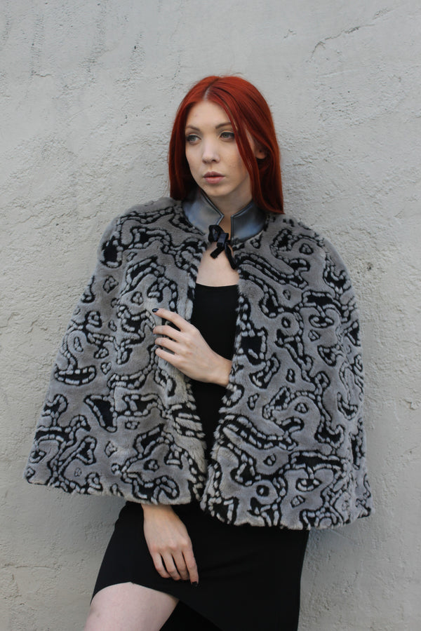 "X FSLA ""Cubby"" Faux Fur One of a Kind Cape"