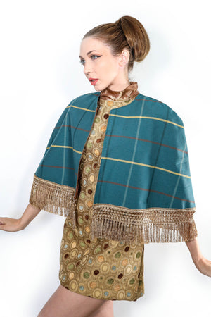 Turquoise & Yellow Plaid Capelet (Sold Out)