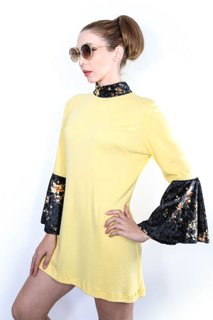 Yellow Roses Bell Sleeved Dress