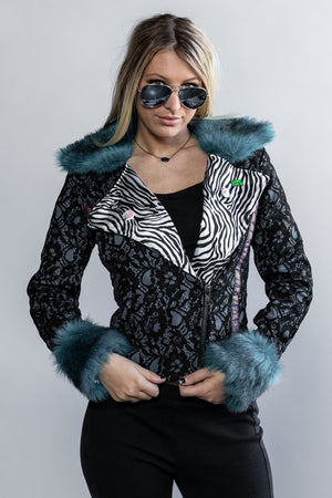 "Forgotten Saints LA ""Night at the Opera"" Lace Motorcyle Jacket with Faux Fur Collar"