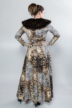 "Forgotten Saints LA ""Nine Lives"" Leopard Cropped Jacket with Faux Fur Collar"