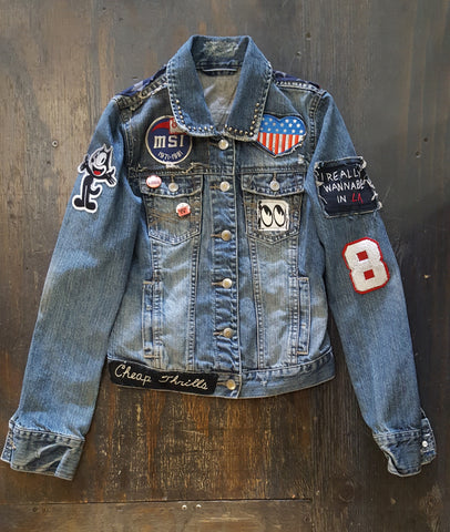 "TSR- FSLA One of a Kind ""Love and Rockets"" Vintage Denim Womens Jacket"