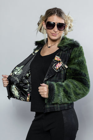 "Forgotten Saints LA ""Siouxsie"" Plaid / Faux Fur Motorcycle Jacket"