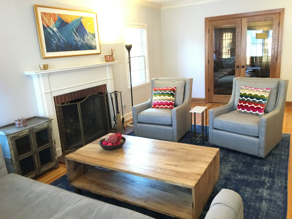 interior design, reclaimed wood furniture, overdyed rug