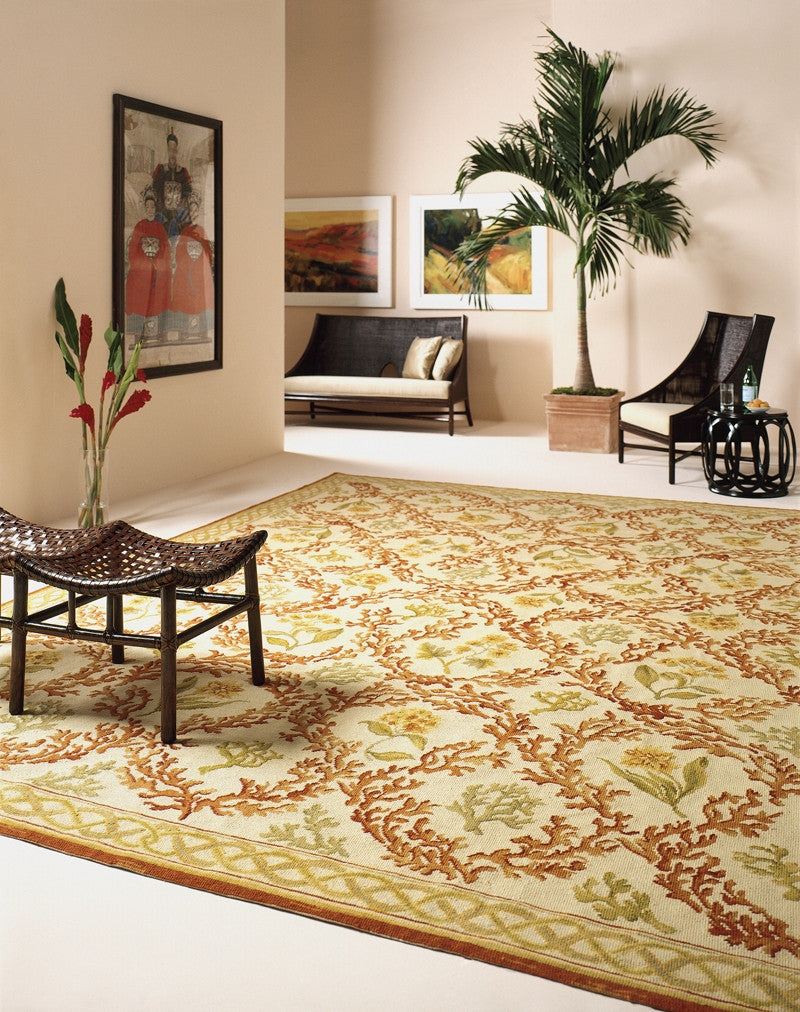 Flowing Coral CR Needlepoint Rug
