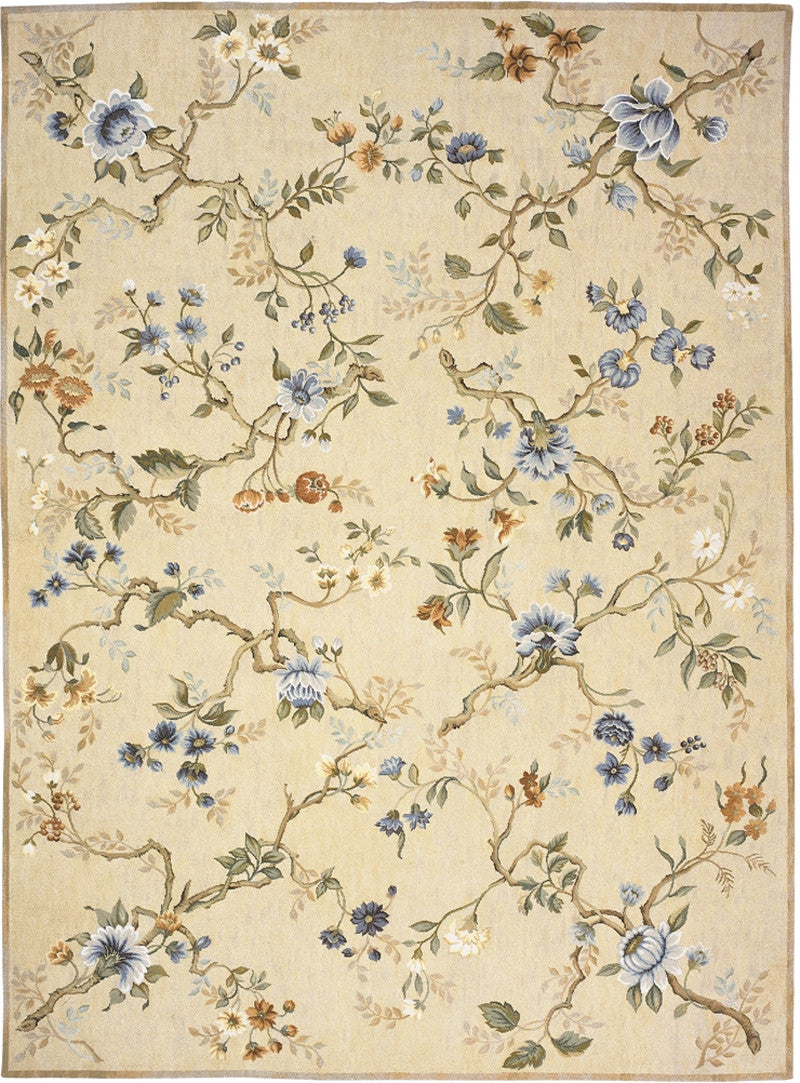 Gold Branches Needlepoint Rug
