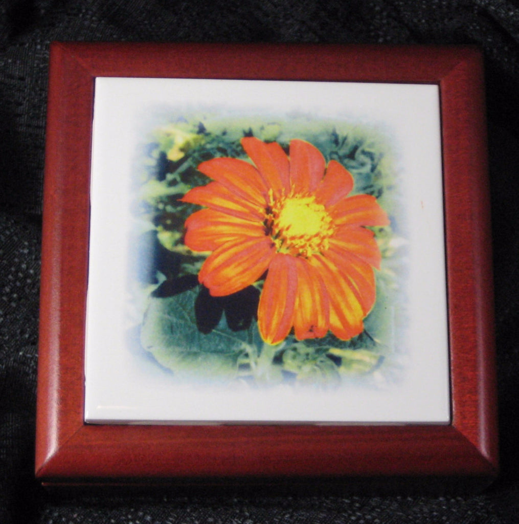 Mexican Sunflower 4.25 Rosewood Tile Jewelry Box
