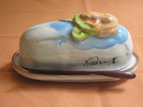 Covered Butter Dishes - Pond Frog