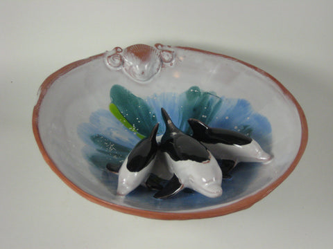 Bottlenose Dolphin Terracotta Footed Bowls