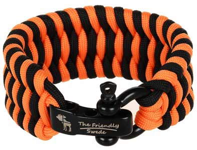 The Friendly Swede (TM) Trilobite Extra Beefy / Wide 500 lb Paracord Survival Bracelet With Stainless Steel Black Bow Shackle - Adjustable Size Fits 7-8 Inch Wrists - In Retail Packaging - Lifetime Warranty (ACU Digital)