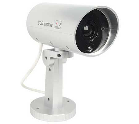 motion activated fake security bullet camera with pan infrared