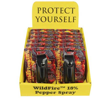 Wholesale 18% Pepper Spray - 12 Holster Black