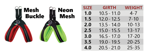 Mesh Neon Tre Ponti Dog Harness Sizing Chart
