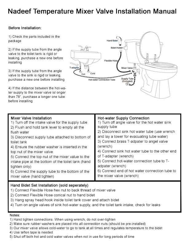 full hot and cold bidet kit installation manual - Nadeef