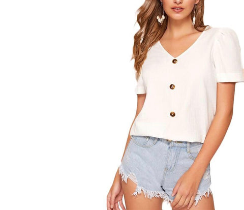 On Second Thought: Natural Wood Button V-Neck Puff Sleeve Top